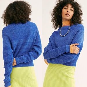 Free people too good mock neck blue sweater knit